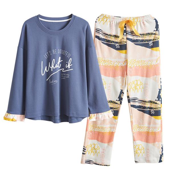 M L XL XXL XXXL 4XL Conjunto de pijama de algodón para mujer Conjunto de pijama con estampado de niña Conjunto de ropa de dormir de manga larga Conjuntos de camisón para mujer Otoño Invierno