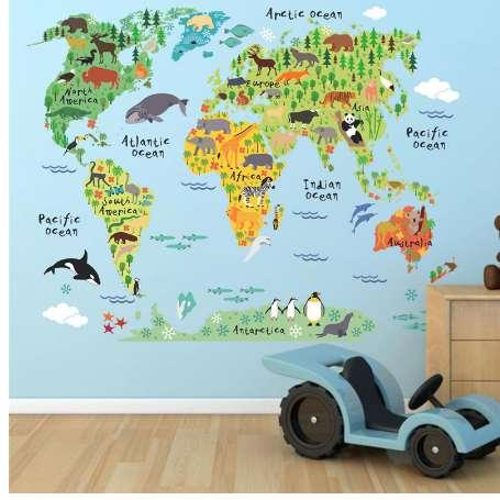 New 037 Cartoon Animals World Map Wall Decals For Kids Rooms Office Childrens Wall Map on