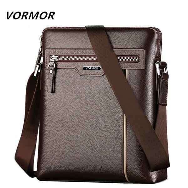 bolsas Crossbody Saco VORMOR famosa marca de couro Men Bag Business Casual Couro Mens Mensageiro dos homens da forma do saco