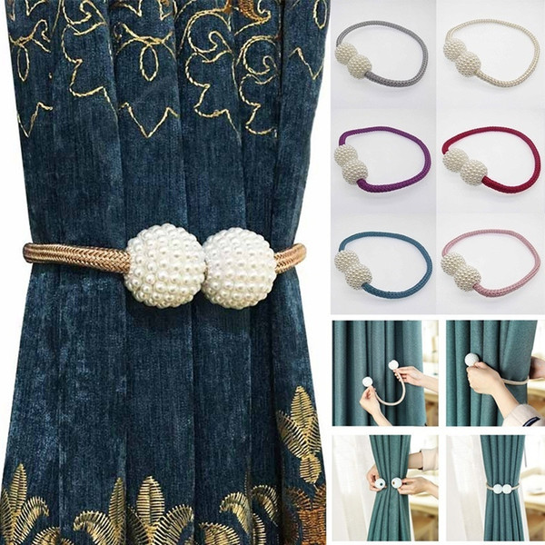 best selling New Fashion 10 pcs Magnetic Curtain Strap Buckle Bind Curtain Holder Pearl Beads Tiebacks Tie Backs Clips Simple Home Decoration Wholesale