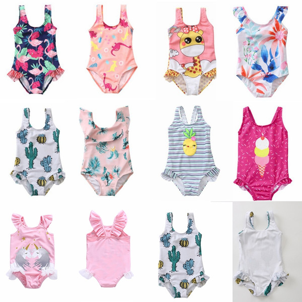 2-8 years baby girls one-piece swimwear unicorn Flamingo Cactus children summer bathing suit ice cream Pineapple floral kids beach wear