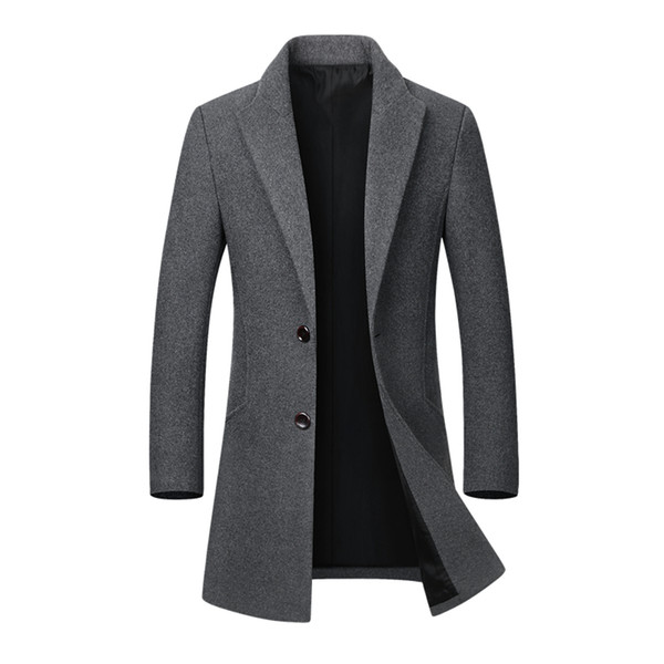 Winter Wool Jacket Men Casual Slim Woolen Coat Stand Collar Erkek Mont Peacoat Overcoat Wool Jacket MenTrench Coat DropShipping