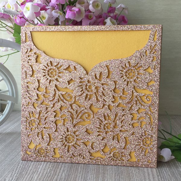 Hollow Luxury Chinese Traditional Wedding Invitation Cards Business Invitations Unique Sun Flower Design Theme Party Supply Wedding Invitation