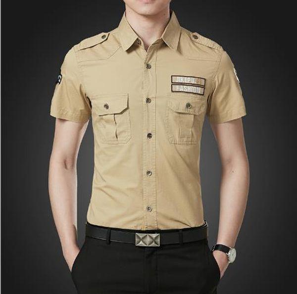 5XL para hombre verano camisas de color sólido bolsillos gire Dowen Clooar manga corta moda Homme ropa moda Casual Appaarel