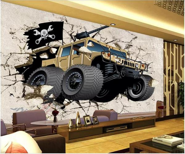 3d wallpaper custom photo Off-road car breaking wall TV background living room home decor 3d wall murals wallpaper for walls 3 d