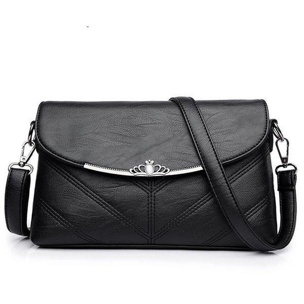 Buena calidad Mujeres Pu cuero bolsa de mensajero pequeños bolsos estilo simple bolsos de hombro para mujeres 2019 Crossbody bolsa perla embrague monedero