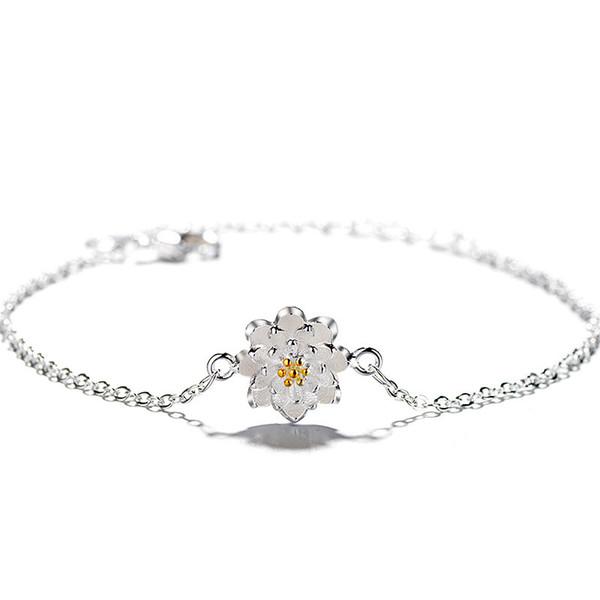 Tshou93 Fashion Handmade Flower Lotus Bracelet Lotus Bracelet Y19051002