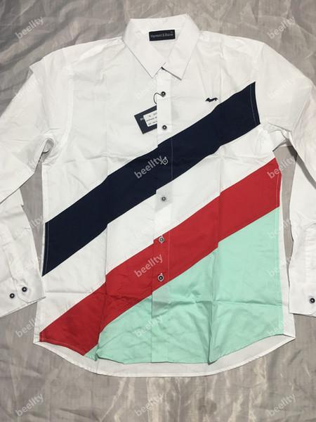 2019 Harmont Blaine erkek tam kollu gömlek Chemise Eril Sosyal Marka tasarım İş rahat embroiery Gömlek tops m-xxxl7