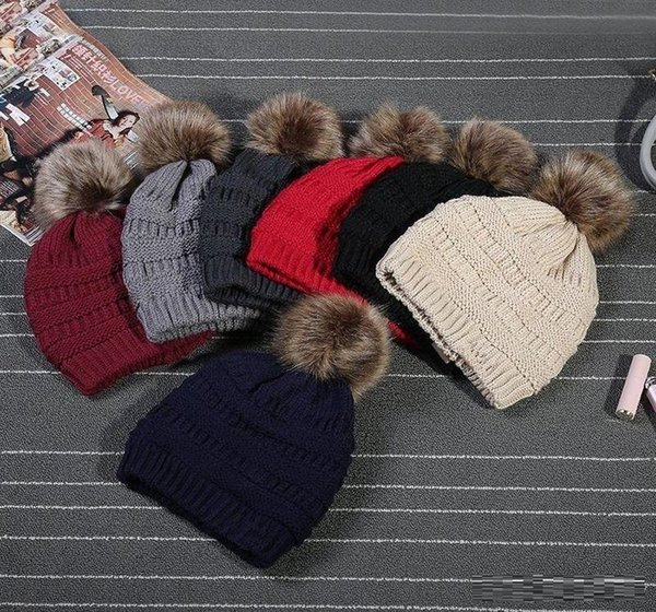 top popular Kids Adults Thick Warm Winter Hat For Women Soft Stretch Cable Knitted Pom Poms Beanies Hats Women's Skullies Beanies Girl Ski Cap 2019