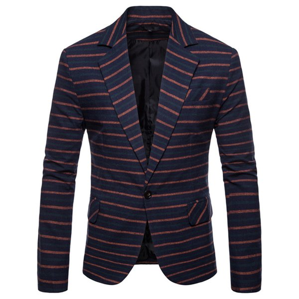 New Fashion Drop Shipping Stripe Formal Men's Blazer Single Button Casual Long Sleeve Blazer Men