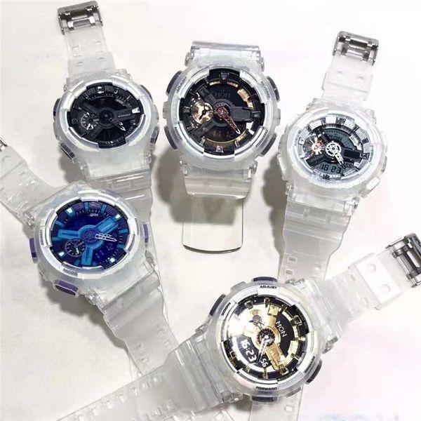 Nova Venda Quente Mens Sports Relógios com Pulseira De Borracha Transparente G Relógios Relógio de Presente dos homens Populares Data Dia Analógico Relógios De Pulso Choque Saat