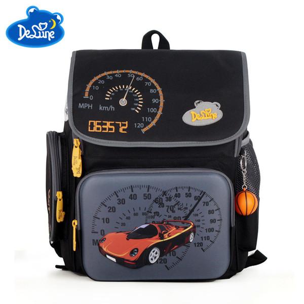 Delune Russia Style Waterproof Orthopedic Backpack School Bags for Boys Cartoon Cars Schoolbag Ultralight Kids Satchel Grade 1-6