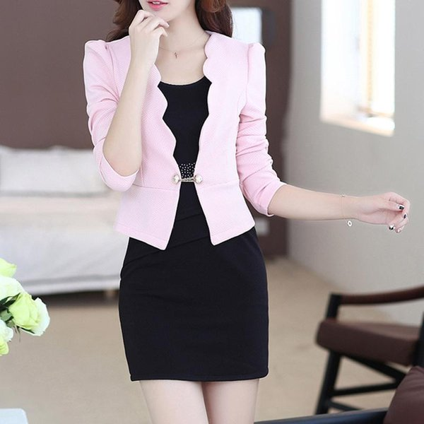 2018 New Autumn Spring OL Women Mini Dresses Suits Fashion Office Lady Women Work Wear Blazer And Dress Two Piece Set For Female