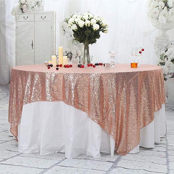 Masa Koşucu 50 '' x 50 '' Kare Gül altın Pullu Masa Örtüsü Pullu Kaplamaları, Koşucular, Gatsby Düğün, Glam Düğün Dekor, Vintage Düğün