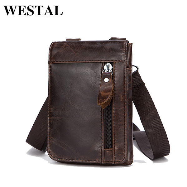 WESTAL Genuine Leather Waist Packs Pack Belt Bag Phone Pouch Bags Travel Waist Pack Male Waist men's Bag Leather Pouch 702