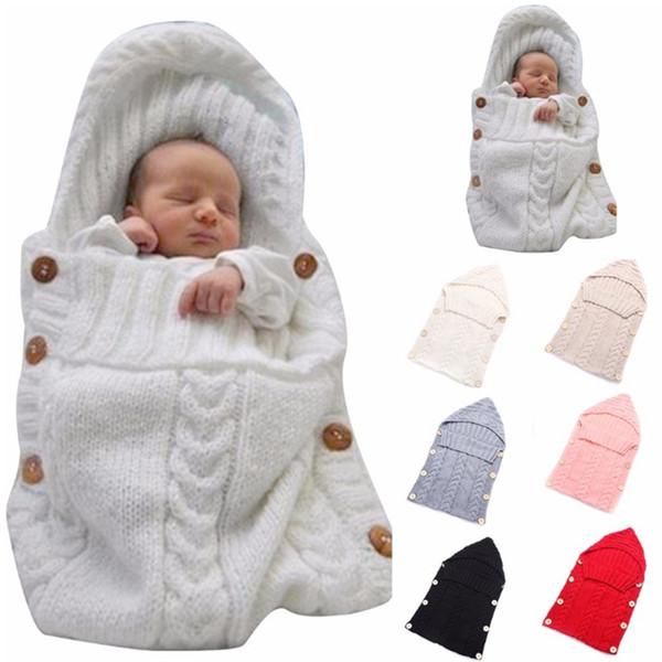 Baby Sleeping Bag Crochet Hoodie Swaddling Wrap Warm Wool Infant Swaddle Wrap Blanket Sleep Sack Stroller Wraps 7 Colors YW1824