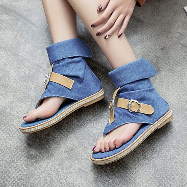 Ladies Denim Flat sandals for women Platform Sandals summer shoes woman Gladiator sandalias mujer Drop Shipping