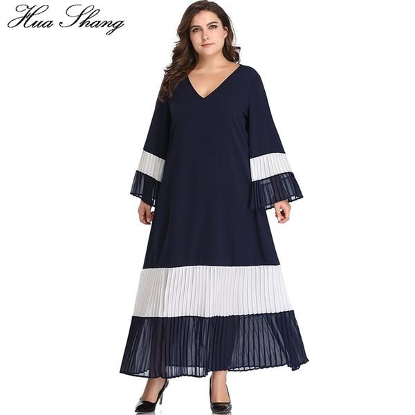 Women Summer Long Sleeve Dress V Neck Flare Sleeve Elegant Patchwork Pleated Long Boho Dress Loose Plus Size Tunic Beach Dresses Y19051102