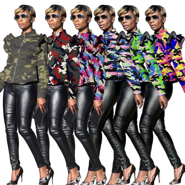 Kamuflaj Baskı Seksi Ince Ceket Kadın Standı Yaka Ruffles Uzun Kollu Ceket Streetwear Fermuar stringy kenar Dış Giyim AAA1977