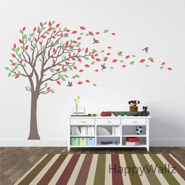 Large Tree Wall Stickers Baby Nursery Tree Wall Decals Leaves Birds Family Tree Wallpaper Kids Room DIY Removable Wall Decor T27