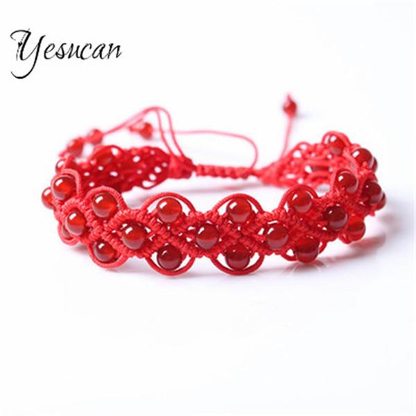 TopBeauté grade vin grenat rouge perles Bracelets Amitié chanceux Bracelets pierre précieuse Femmes Jaune Perle Bracelet Charms Bijoux