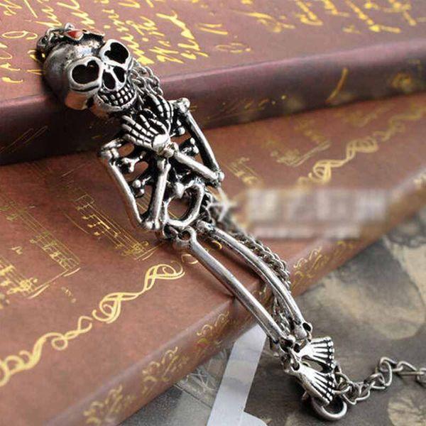 NEW STYLE Retro Silver Rock Gothic Punk Double Skeleton Skull Bangle Charm Bracelet