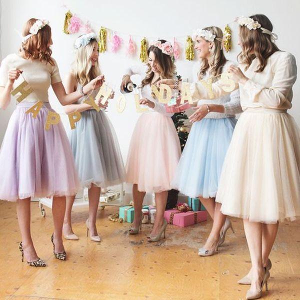 6 capas de moda de tutú falda de tul hasta la rodilla faldas plisadas para mujer falda de la boda Lolita enagua Saia Faldas Jupe