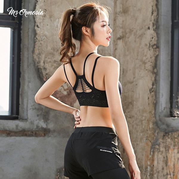 Sujetador deportivo acolchado de secado rápido Mujeres Wirefree Ajustable Fitness Top Sujetador deportivo Push Up Sujetador de yoga corriendo sin costuras