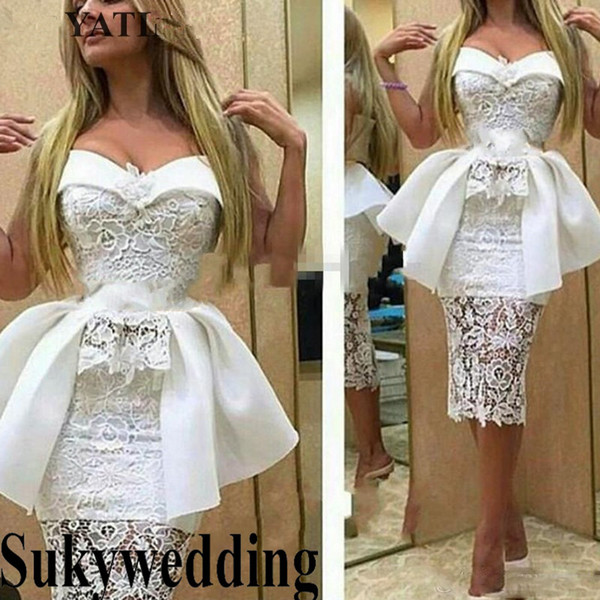 Sexy White Lace Short Cocktail Dresses 2019 Sheath Evening Party Dress with Peplum Sweetheart Tea Length Prom Gowns Vestido de festa curto