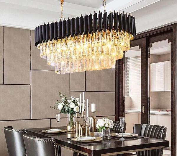 Modern Kitchen Island Crystal Chandelier Lamps Lights For Luxury Dining  Room Crystal Chandeliers Hanging LED Pendant Lighting Black MYY Pendant  Light ...