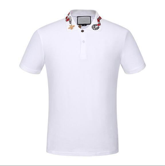 El nuevo diseñador de polos de los hombres de lujo del polo de los hombres Casual camiseta del polo de la serpiente abeja impresión de la letra del bordado de moda de la calle de algodón para hombre Polos