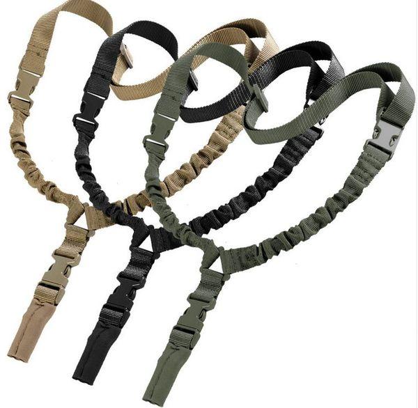Heavy Tactical One Single Point Sling Adjustable Bungee Shoulder strap length sling belt