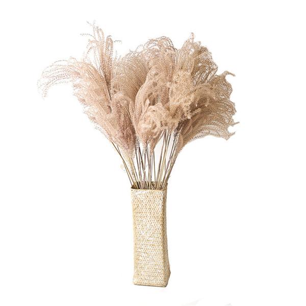 10pcs / 20pcs Dekor düğün ev küçük pampas kamış çim kurutulmuş doğal Phragmites çiçekler buketler 3 renk SH190920