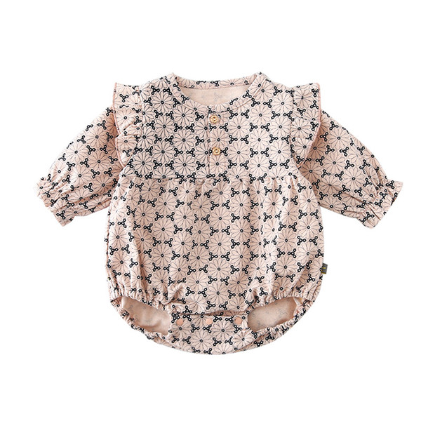 High Quality baby kids designer clothes Romper Long Sleeve Full Flower O-neck Romper Clothes 100% cotton girl rompers 0-2T