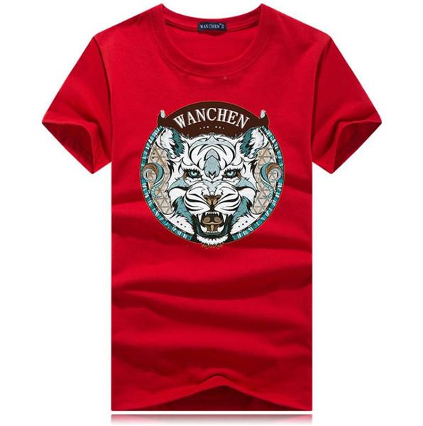 2019 лето хлопка с короткими рукавами футболки мужской шеи китайского драконом стиль шаблон сыпучей половины рукав футболка жир одежда