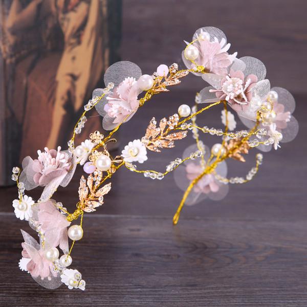 Rosa Fiori fatti a mano Cristalli Perle Perline Ragazze Fascia Fata Sweety Accessori per capelli Matrimonio Copricapi Corone AL2291