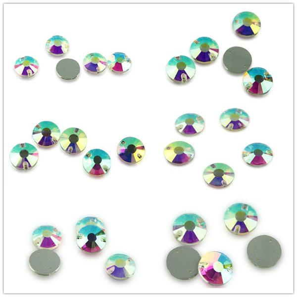 Vários Tamanho Rodada Flor AB Cor Sew Em Applique De Cristal Costurar Em Flatback Acrílico Beads Strass Pedras Para DIY Roupas Decoração