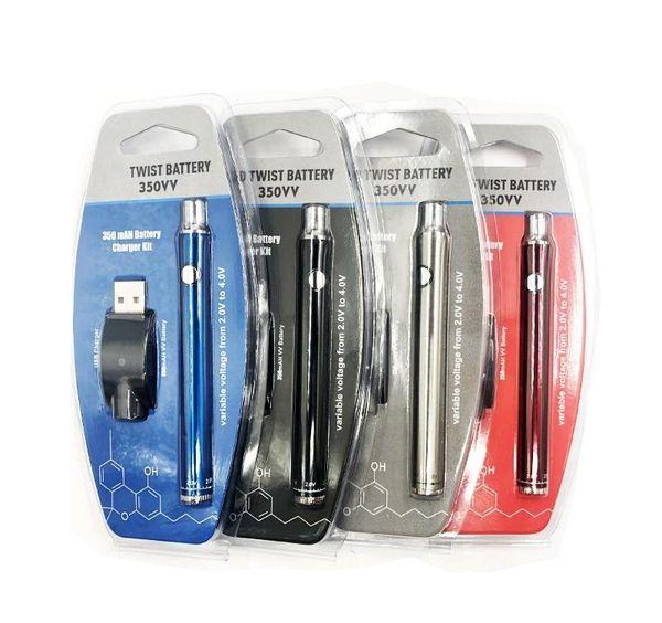 OEM logotipo personalizado disponible Empuje la batería Parte inferior Torsión 350 650 mAh 510 Rosca Delgada Voltaje ajustable Precalentamiento VV Vape Pen Blister Package