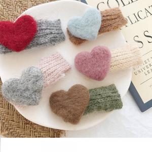 Pinzas para el cabello hechas a mano con forma de corazón de amor y pelo de conejo de imitación lindo clip de horquilla coreana 5 colores accesorios para el cabello IIA259