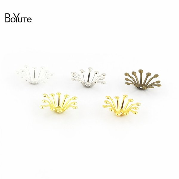 flower charm BoYuTe 200Pcs 4 Colors 13MM Flower Charms Wholesale Filigree Metal Brass DIY Jewelry Charms for Wedding Hair Accessories