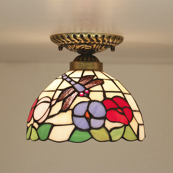 8 Inch Stained Glass Light European Ceiling Light Led Vintage Creative Stairs Aisle Light Glass Shade Ceiling Lamps for Bedroom Art Decor