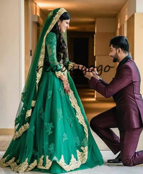 Hunter Green Мусульманские индийские свадебные платья с длинным рукавом 2019 Люкс Кристалл Золотое кружево аппликация арабский свадебное платье