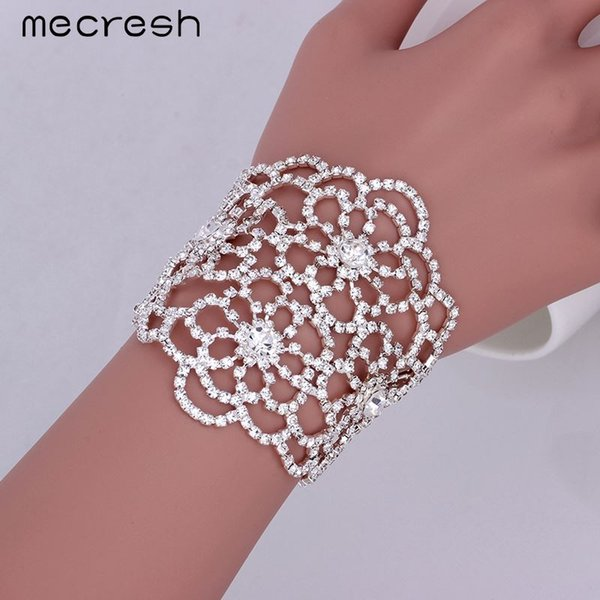 dhgate Top Crystal Wrap Bracelets for Women Silver Color Floral Bridal Pulseras 2017 Wedding Jewelry Gift Hot Sale SL128