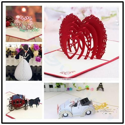 3D pop up card Valentine's Day wedding greeting card Paper cutting Heart-shaped Paper Invitation Card Party Decorations