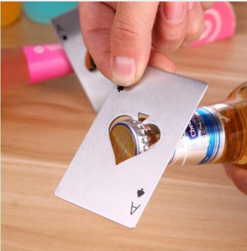 Cerveza Abrebotellas Póquer Naipe Ace of Spades Bar Tool Abridor de tapa de botella Accesorios de cocina LJJK1359