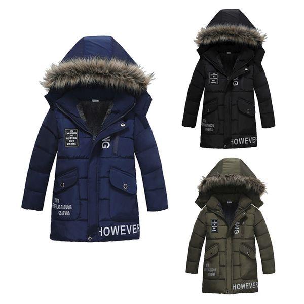 good quality Children Coats Baby Girl Coat Winter Letter Print Warm Jacket Boy Fur Hooded Wine Coat Jean jacket veste enfant fille