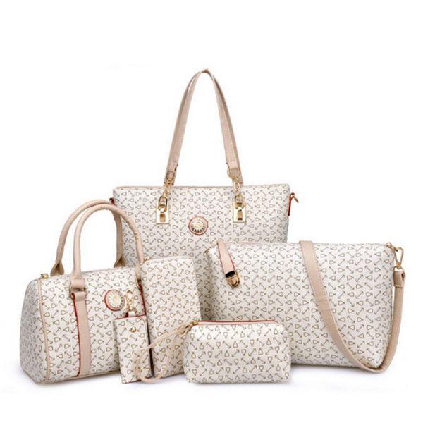 Sacchetto composito 6PCS / Set Borse da donna Borse da donna Borsa da donna in pelle Borsa moda Tote Borsa a tracolla borse per