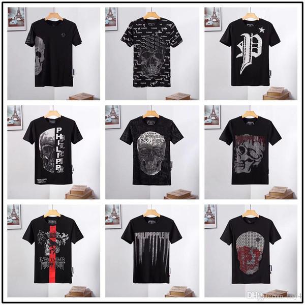 18 model 2019 Yaz Erkekler T-Shirt Moda erkekler Kısa Kollu t-shirt Rahat Pamuk Yapıştır matkap Kafatası Mektup baskı Hip Hop yeni stil Adam t-shirt