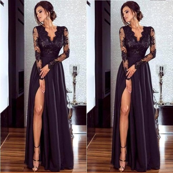 Formal Sexy Side Split Long Sleeve A Line Evening Dresses Cheap Applique V Neck Lace Party Gown Prom Dress 164