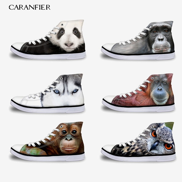 CARANFIER Unisex Casual and Comfortable Classic Flat Canvas Shoes Printed Summer Breathable Large Size High Shoes Round Toe